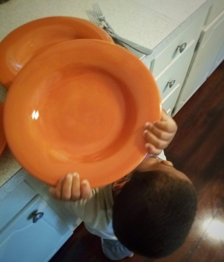 table setting, dinner, mealtime, toddler, children, life skills, kitchen, #mykidmadethis, plate, plates, carry