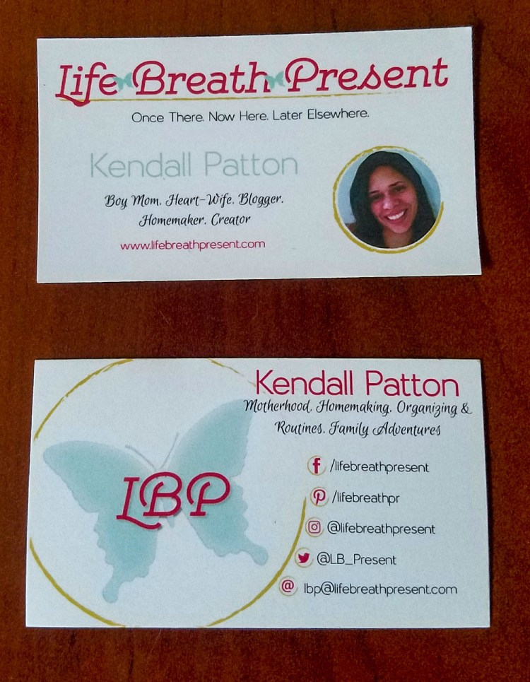 business card, lbp, life breath present, kendall patton, website, blog, design, diy, logo
