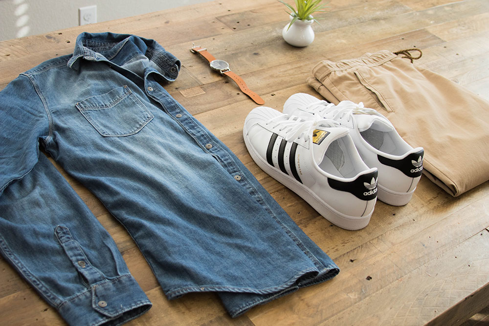 Denim Shirt - Joggers - Adidas All Stars