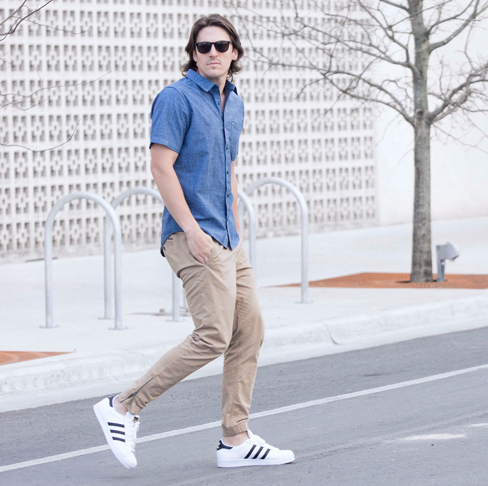 @Dylanbenjam Instagram Male Fashion Super Stars Shoes Blue Button up and Tan Joggers