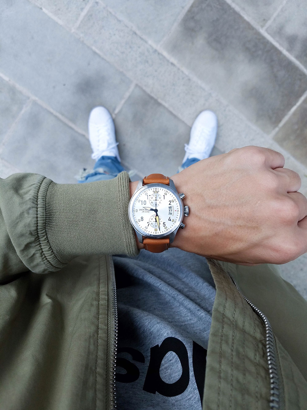 Jack Mason Watch + Adidas Shirt + Green Jacket