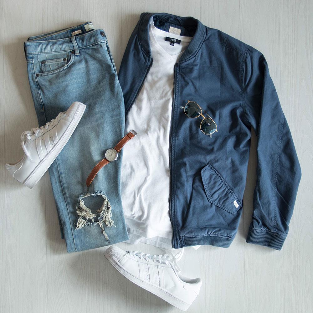 Blue Bomber Jacket Flat Lay