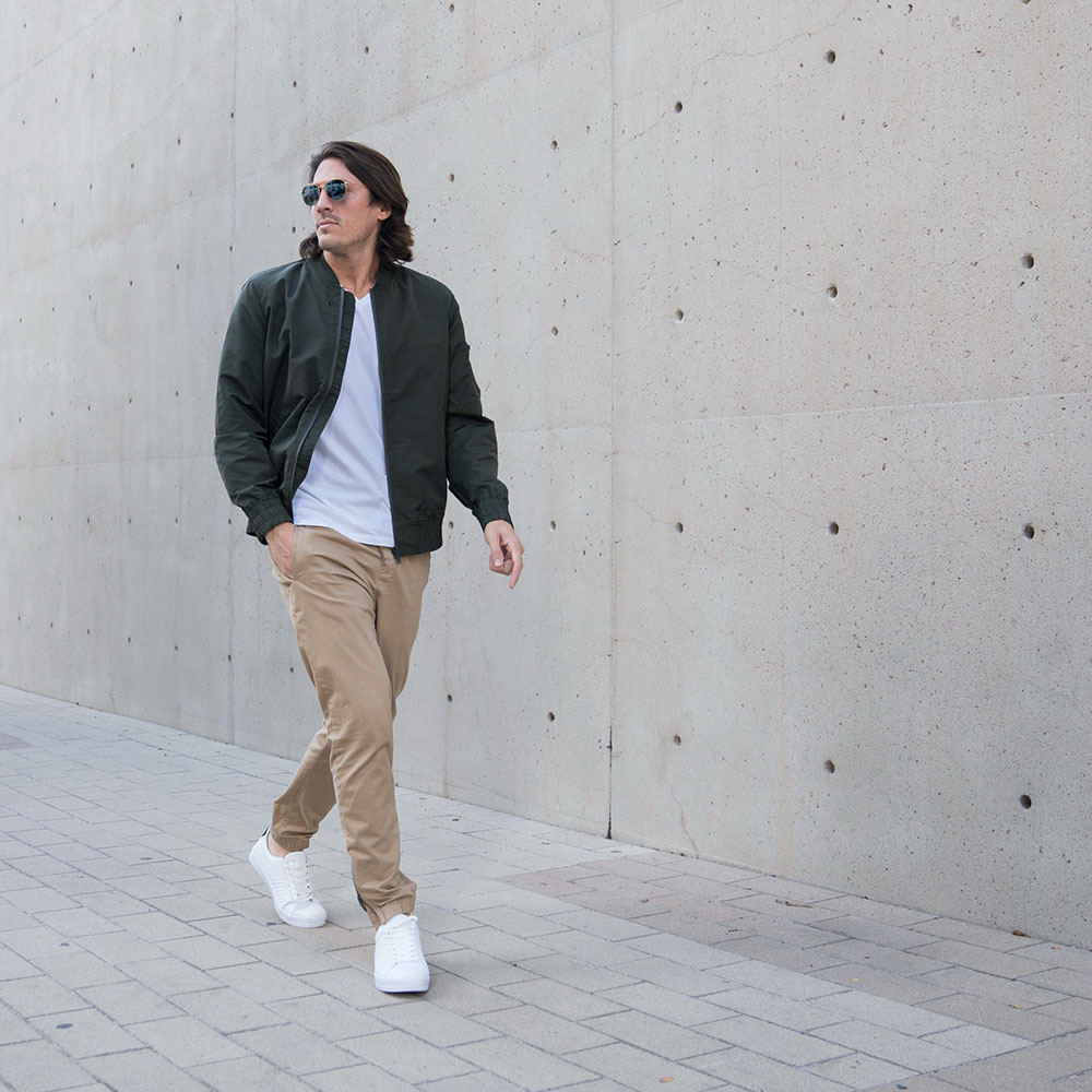 Green Bomber Jacket - White Tee - Joggers - White Sneakers