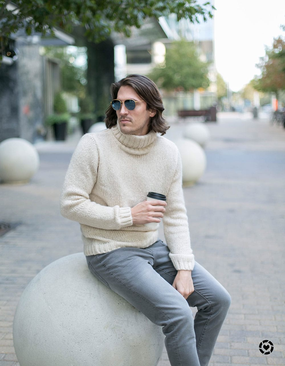 River Island Cream Roll Neck Sweater and Grey Jeans