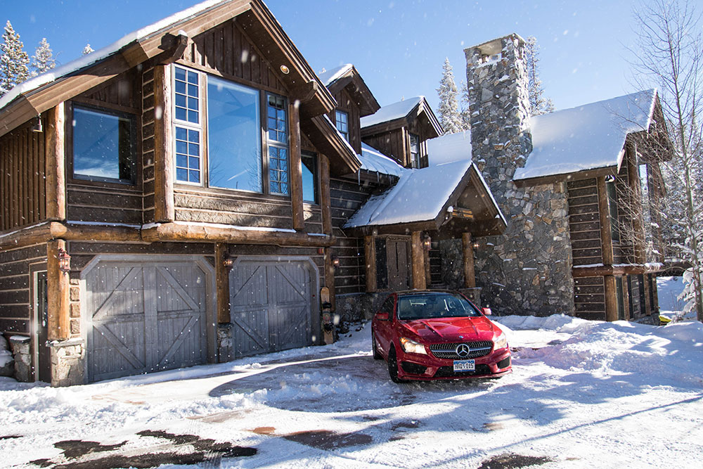 Car Parked in Snowy Driveway Breckenridge
