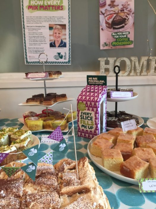 Table of cakes at a MacMillan coffee morning