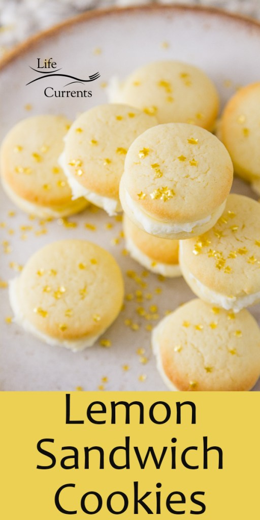 Lemon Sandwich Cookies, title on bottom of image with cookies stacked on a white plate with gold star sprinkles on top