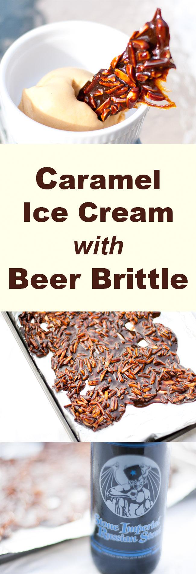 Caramel Ice Cream with Beer Brittle - a creative and fun adult ice cream treat! #dessert #icecream #beer #caramel
