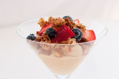 Peanut Butter Parfaits made with homemade granola, strawberries, and blueberries; perfect for breakfast, snack, or dessert.