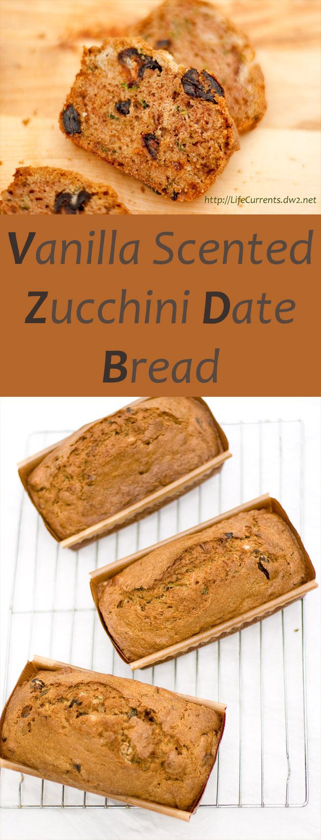 Vanilla Scented Zucchini Date Bread Recipe