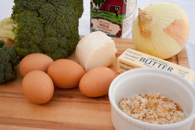 ingredients for Broccoli, Leek, and Mozzarella Quiche #quiche #frittata #eggCasserole