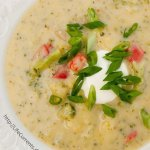 Baked Potato Soup with Broccoli and Red Pepper
