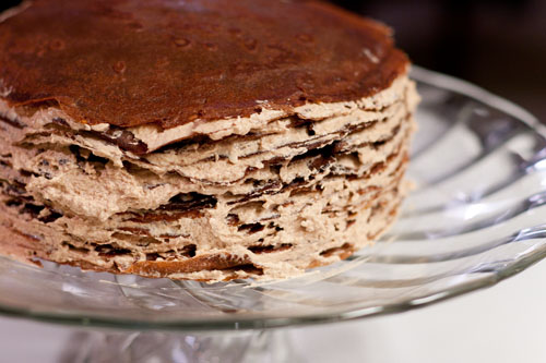 "Darkest Chocolate Crepe Cake or ""what have I gotten my husband into?"" filled crepes"