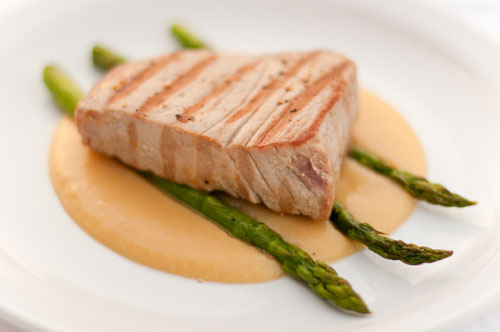 Seared Albacore Tuna served over Roasted Asparagus and Potato Puree