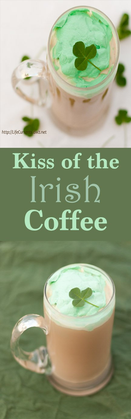 Kiss of the Irish Coffee with green whipped cream Recipe