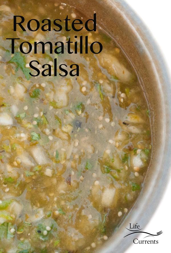 Roasted Tomatillo Salsa Recipe perfect on fish tacos