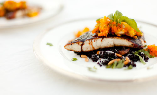 Soy Glazed Barramundi with Pineapple Salsa Served Over Black Rice https://lifecurrentsblog.com #fish #barramundi #healthy
