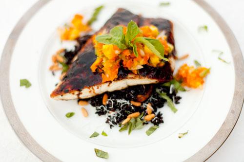 Soy Glazed Barramundi with Pineapple Salsa Served Over Black Rice https://lifecurrentsblog.com #fish #barramundi #healthy