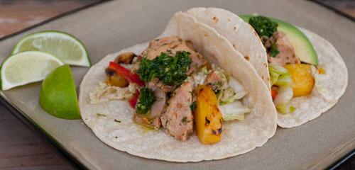 Island Trollers Habanero Albacore Tuna Tacos with chimichurri and grilled pineapple slaw