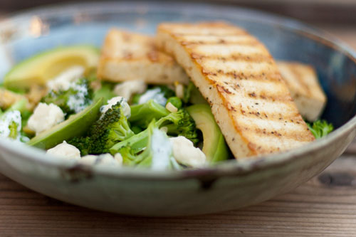 Spiced Tofu with Broccoli and Blue Cheese Salad https://lifecurrentsblog.com