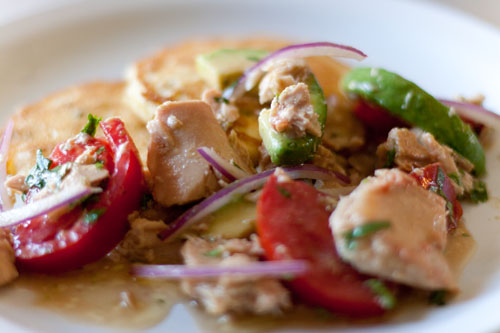 Island Trollers Summer Salad with Fresh Corn Cakes - Island Trollers tuna has beautiful large chunks of Albacore