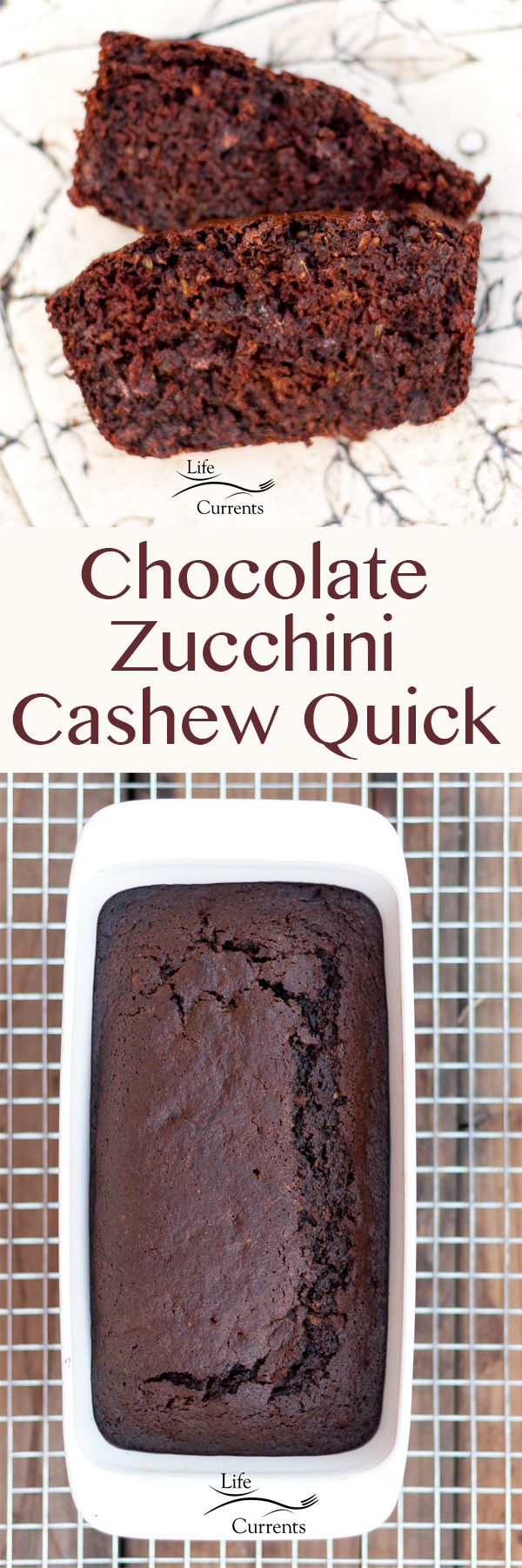 Chocolate Zucchini Cashew Quick Bread tastes like a brownie but has hidden good for you things!