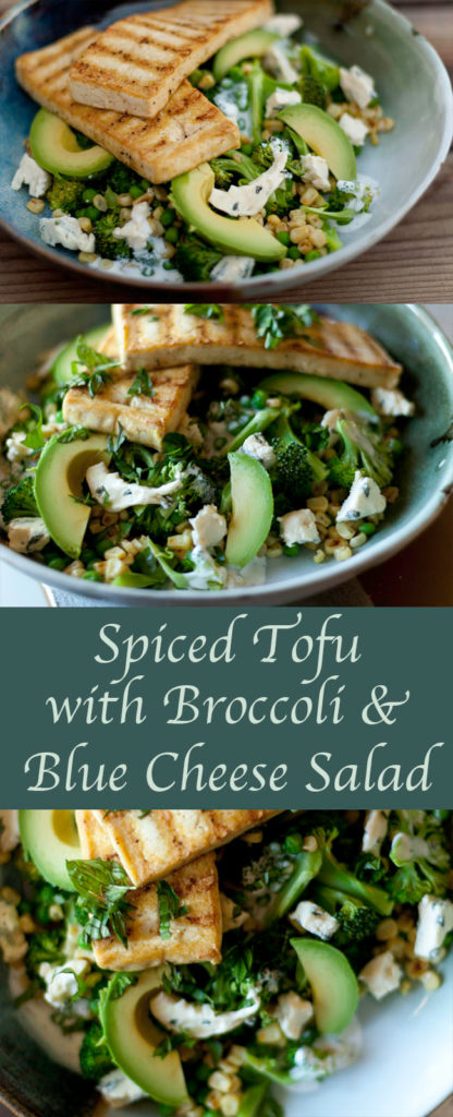 Spiced Tofu with Broccoli and Blue Cheese Salad long pin for Pinterest with 3 images and a title