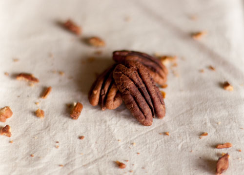 Crisp pecans, not as sugary as sugared nuts. These are really crisp and great for snacking.