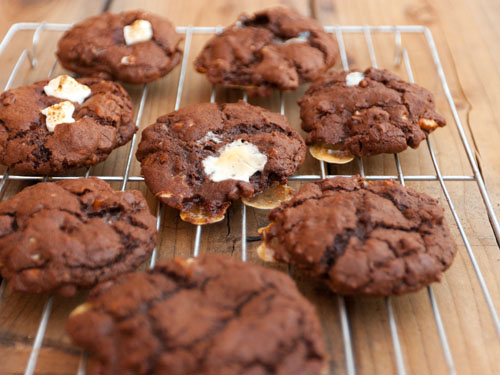 Rocky Road Cookies (kinda like s'more cookies) chocolate cookies with pecans and marshmallows