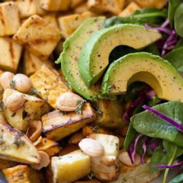 tofu, sweet potatoes, Marcona almonds, avocado, spinach