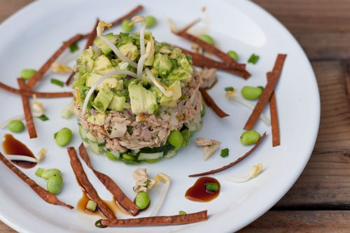 albacore tuna tower with Island Trollers sustainable seafood