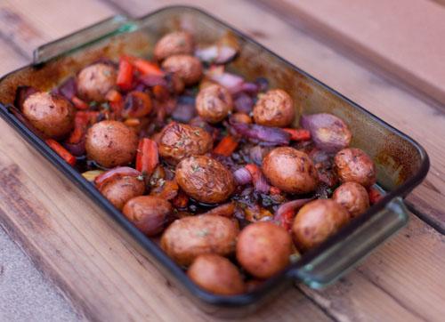 baked veggies with apricot sauce. https://lifecurrentsblog.com