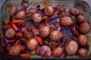 Veggies Baked in Apricot and Thyme Sauce potatoes, carrots, red onions, garlic baked in Apricot Sauce with balsamic vinegar, dried apricots, thyme, and olive oil