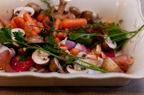 Vegetarian Roasted Vegetable Broth Recipe veggies ready to be roasted
