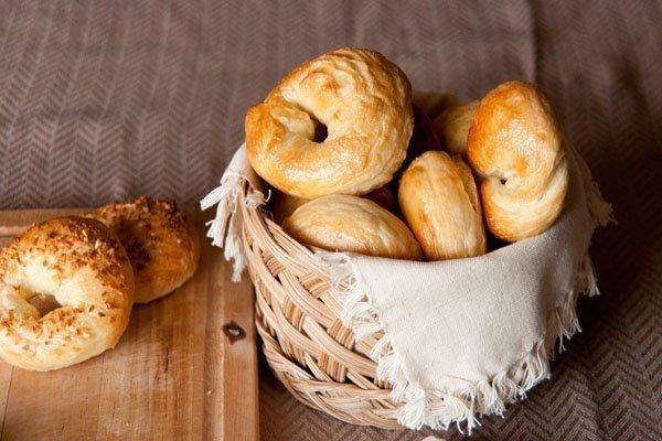 Homemade egg bagels in a basket