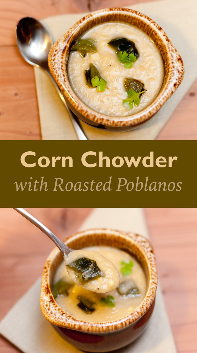 Vegan Corn Chowder with Roasted Poblanos: corn, onion, and spicy chiles combine to make a mildly spicy sweet vegan and gluten-free soup