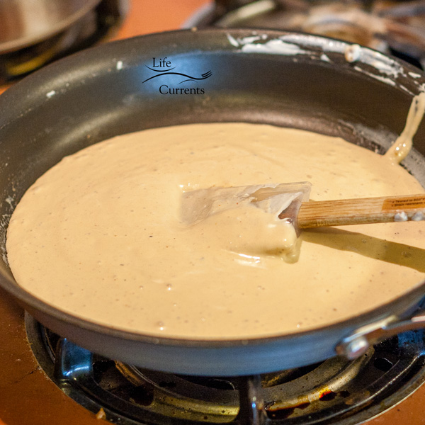 Chipotle – Sour Cream sauce in a dark pan on the stove