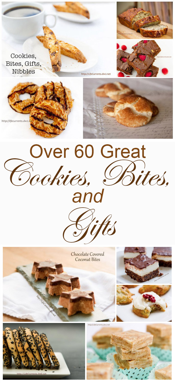 Great cookies, sweets, desserts, bites, nibbles, and cookies for cookie exchanges; you can share for the holidays or for special occasions. I also added a section of gifts that you can give, savory or sweet, you'll find great unique homemade gifts to give.