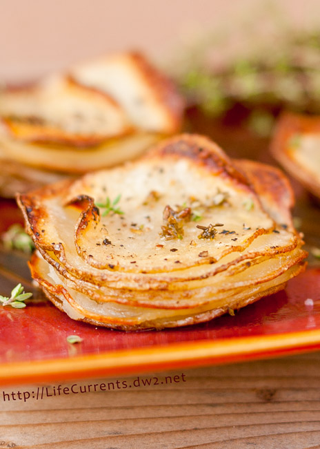 Skinny Potato and Onion Bake featured recipe - Roasted Potato Stacks