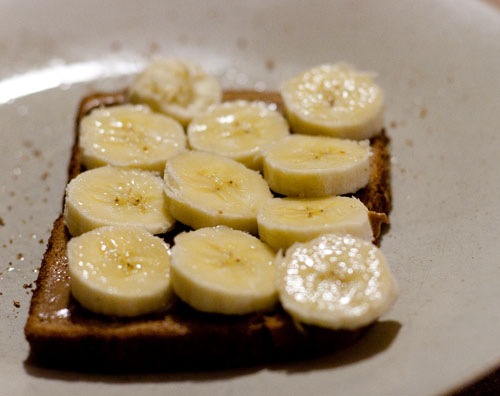 bananas with almond butter on whole wheat toast