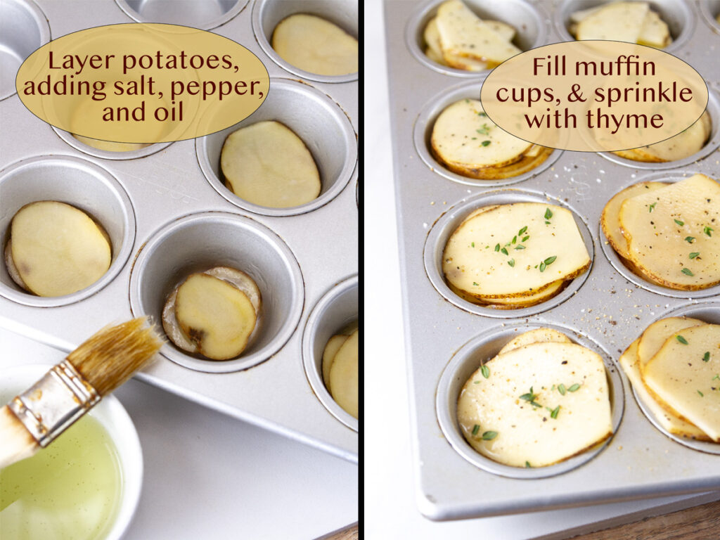 process shots for how to make stacked potatoes