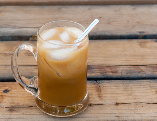 coffee with homemade almond syrup