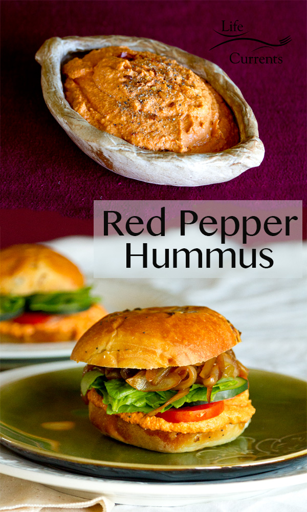 Roasted Red Pepper Hummus plus a fabulous sandwich to serve it on!