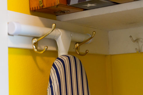 ironing board hangers: Broom Closet Makeover  #organizing #organize #clean Life Currents