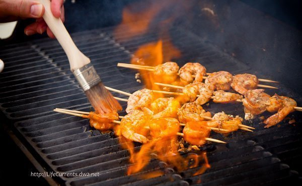 Spicy Grilled Buf-a-que Shrimp in a Buffalo-style mop sauce