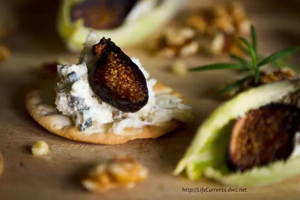 Creamy Chicken Pimento Spread - featured recipe blue cheese spread on crackers with figs