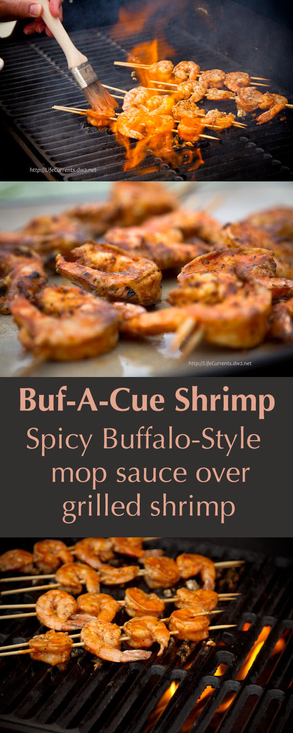 Spicy Buf-a-que Shrimp in a Buffalo-style mop sauce - a spicy and fun way to serve shrimp as an appetizer or main dish at your next party!