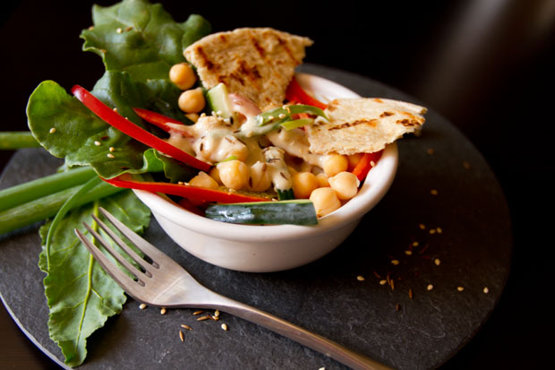Deconstructed Hummus Salad with Toasted Flatbread Croutons and Tahini Dressing Life Currents #salad #hummus #tahini