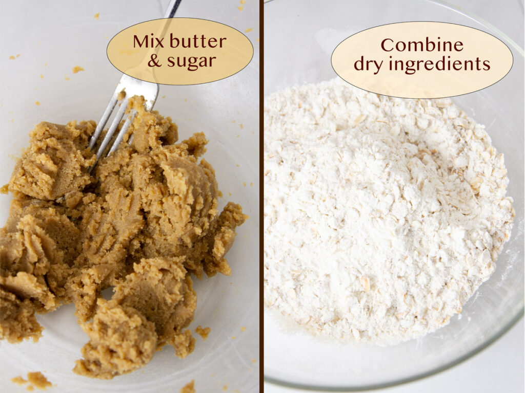 how to make oatmeal lemon bars, cream the butter and sugar, and mix dry ingredients.