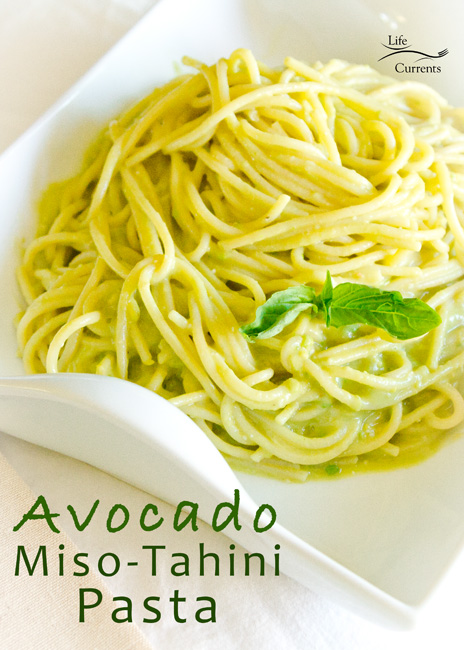 Avocado-Miso-Tahini Pasta Recipe - creamy vegan healthy sliky goodness